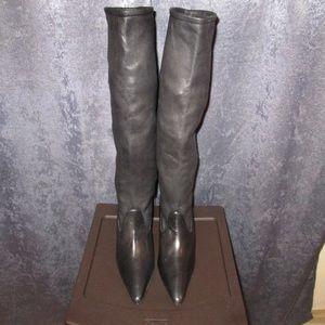 Black Leather Manolo Blahnik Knee Boots 37 1/2-7.5